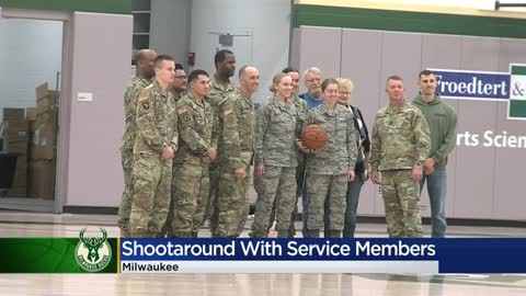Wisconsin veterans shoot hoops with the Milwaukee Bucks